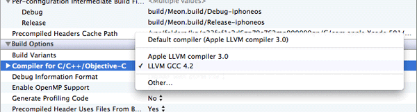 Xcode 4.2 compiler choices