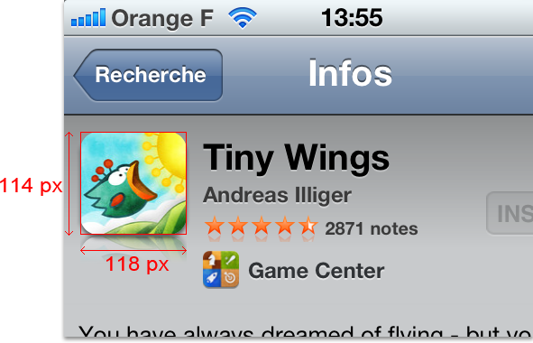 Non square App Store icon of Tiny Wings