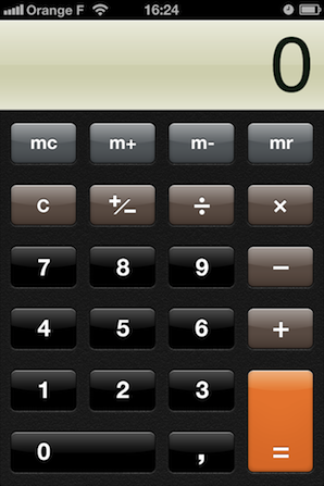 Calculator app screen